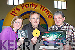 Joan McGillicuddy, Michael Burke and Pat O'Shea who has organised the Evolution teenage disco in Glenbeigh Community hall next Friday night .