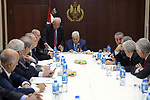Palestinian President Mahmoud Abbas chairs a meeting of the Higher National Committee in the West Bank city of Ramallah on November 15, 2018. Photo by Thaer Ganaim