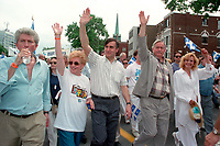 June 24, 1994  File Photo <br /> Gilles Duceppe,Lucien Bouchard  Jacques Parizeau and his wife Lysette Lapointe<br /> take part in the<br /> Quebec national Holiday (Saint-Jean-Baptiste)