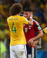 David Luiz of Brazil consoles a tearful James Rodriguez of Colombia at full time