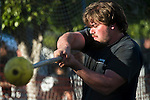A male competitor throws during the highland games at the Scotsfest held at the Queen Mary in Long Beach, Calif., on Saturday, February 16, 2013.