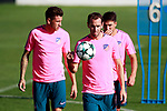 Atletico de Madrid's Jose Maria Gimenez, Diego Godin and Nico Gaitan during training session. September 26,2017.(ALTERPHOTOS/Acero)