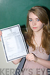 TOP CLASS: Claire O'Connor of Presentation Secondary School, Tralee who got 11A's in her Junior Certificate on Wednesday..