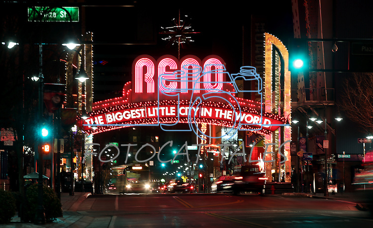 The Reno Arch is lit with 2,100 new red bulbs as part of American Heart Month, in Reno, Nev., on Saturday, Feb. 1, 2014. (Las Vegas Review-Journal/Cathleen Allison)