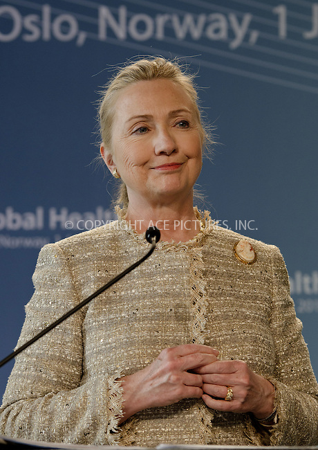 WWW.ACEPIXS.COM . . . . .  ..... . . . . US SALES ONLY . . . . .....June 1 2012, Oslo....U.S. Secretary of State Hillary Clinton attends a global health conference at Oslo City Hall on June 1 2012 in Norway....Please byline: FD/ACE Pictures, Inc.... . . . .  ....Ace Pictures, Inc:  ..Tel: (212) 243-8787..e-mail: info@acepixs.com..web: http://www.acepixs.com