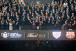 FC Barcelona's Andres Iniesta (l) and Xavi Hernandez celebrate the vicroty in the Spanish King's Cup Final match in presence of King Felipe VI of Spain. May 30,2015. (ALTERPHOTOS/Acero)