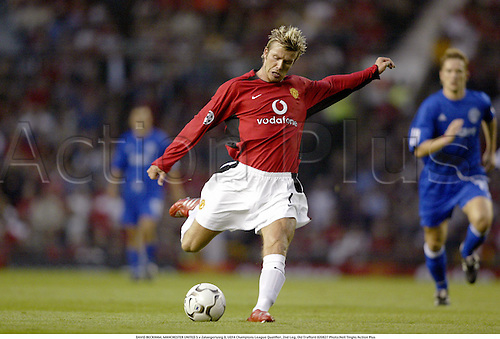DAVID BECKHAM, MANCHESTER UNITED 5 v Zalaegerszeg 0, UEFA Champions League Qualifier, 2nd Leg, Old Trafford 020827 Photo:Neil Tingle/Action Plus...Soccer 2002.Football
