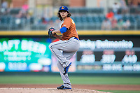 Durham Bulls starting pitcher Brent Honeywell (21) in action against the Charlotte Knights at BB&T BallPark on May 16, 2017 in Charlotte, North Carolina.  The Knights defeated the Bulls 5-3. (Brian Westerholt/Four Seam Images)