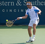 David Ferrer (ESP) defeats Grigor Dimitrov (BUL) at the Western and Southern Financial Group Masters Series in Cincinnati on August 17, 2011.   Ferrer won in three sets:  4-6, 6-1, 7-5.