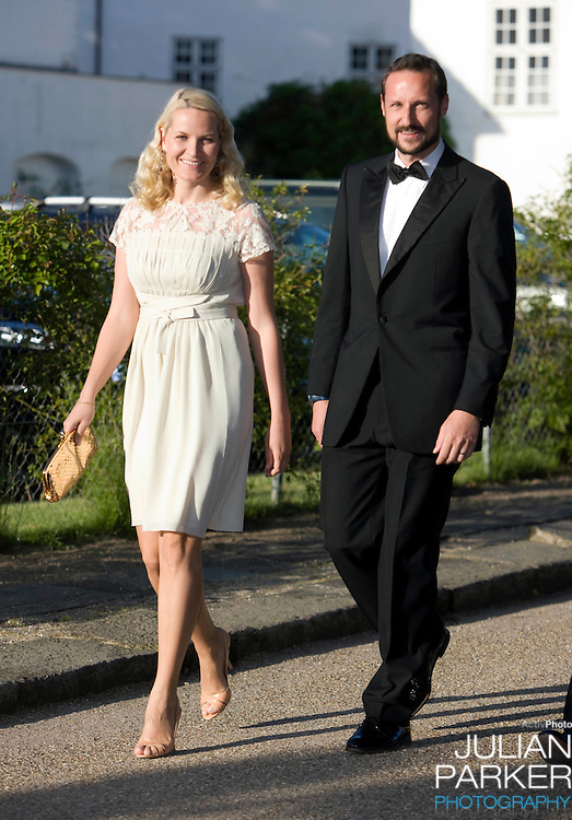 Crown Prince Haakon, and Crown Princess Mette Marit of Norway arrives for a Dinner Party at Fredensborg Palace, in Denmark, to celebrate Crown Prince Frederiks 40th Birthday. Crown Prince Frederik turned 40 on May 26th