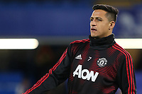 Alexis Sanchez of Manchester United warms up ahead of kick-off during Chelsea vs Manchester United, Emirates FA Cup Football at Stamford Bridge on 18th February 2019