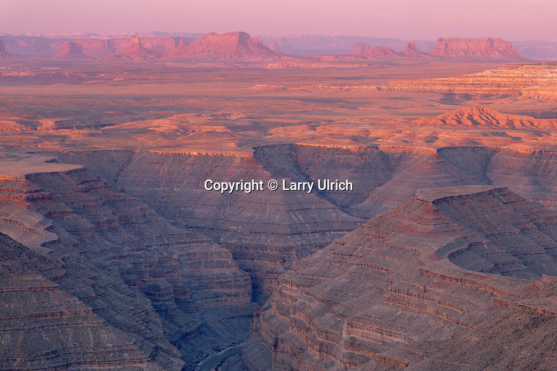 San Juan River Canyon<br />   and Monument Valley from Muley Point<br /> Glen Canyon National Recreation Area<br /> Colorado Plateau,  Utah