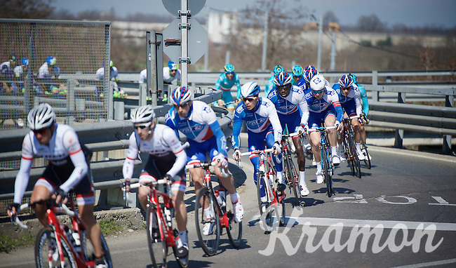 Arnaud Démare (FRA/FDJ) escorted by teammates in the peloton<br /> <br /> 107th Milano-Sanremo 2016