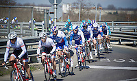 Arnaud D&eacute;mare (FRA/FDJ) escorted by teammates in the peloton<br /> <br /> 107th Milano-Sanremo 2016