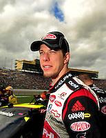 Oct. 3, 2009; Kansas City, KS, USA; NASCAR Nationwide Series driver Brad Keselowski during the Kansas Lottery 300 at Kansas Speedway. Mandatory Credit: Mark J. Rebilas-