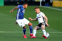 10th July 2020; Craven Cottage, London, England; English Championship Football, Fulham versus Cardiff City; Nathaniel Mendez-Laing of Cardiff City fouls Joe Bryan of Fulham