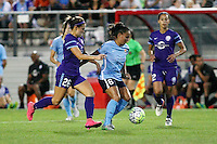 Piscataway, NJ - Wednesday Sept. 07, 2016: Samantha Witteman, Taylor Lytle, Kristen Edmonds during a regular season National Women's Soccer League (NWSL) match between Sky Blue FC and the Orlando Pride FC at Yurcak Field.