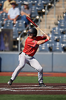 Batavia Muckdogs J.D. Orr (22) at bat during a NY-Penn League game against the West Virginia Black Bears on August 29, 2019 at Monongalia County Ballpark in Morgantown, New York.  West Virginia defeated Batavia 5-4 in ten innings.  (Mike Janes/Four Seam Images)