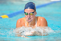 14 January 2012:  FIU's Jeanmarie Madison competes in the 100 yard breaststroke as the FIU Golden Panthers won the meet with the Central Connecticut State University Blue Devils at the Biscayne Bay Campus Aquatics Center in Miami, Florida.