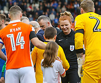 Assistant referee Helen Byrne shakes hands with players and mascots<br /> <br /> Photographer Alex Dodd/CameraSport<br /> <br /> The EFL Sky Bet League One - Blackpool v Portsmouth - Saturday 11th November 2017 - Bloomfield Road - Blackpool<br /> <br /> World Copyright &copy; 2017 CameraSport. All rights reserved. 43 Linden Ave. Countesthorpe. Leicester. England. LE8 5PG - Tel: +44 (0) 116 277 4147 - admin@camerasport.com - www.camerasport.com