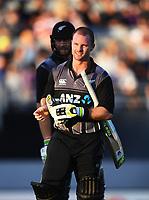Colin Munro.<br /> New Zealand Black Caps v Australia.Tri-Series International Twenty20 cricket. Eden Park, Auckland, New Zealand. Friday 16 February 2018. &copy; Copyright Photo: Andrew Cornaga / www.Photosport.nz