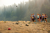 USA, Oregon, Wild and Scenic Rogue River in the Medford District, a game of Petanque at the Horseshoe Bend Campground