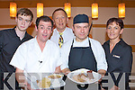 Celebrity Chef Bryce Collins who recorded a new television programme in Macs restaurant last Thursday evening in aid of the Kerry Respite Centre l-r: Martin O'Dwyer, Bryce Collins, Denis McMahon, Paul Barrett and Breeda Walshe.