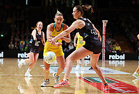 11.10.2017 Silver Ferns Kelly Jury and Australia's Liz Watson in action during the Constellation Cup netball match between the Silver Ferns and Australia at Titanium Security Arena in Adelaide. Mandatory Photo Credit ©Michael Bradley.