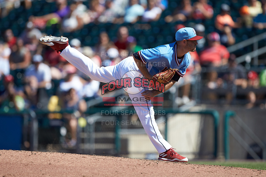 Lehigh Valley Iron Pigs relief pitcher Joey DeNato (2) follows through on his delivery against the Durham Bulls at Coca-Cola Park on July 30, 2017 in Allentown, Pennsylvania.  The Bulls defeated the IronPigs 8-2.  (Brian Westerholt/Four Seam Images)