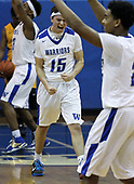 Matt Forgacs (15), Walled Lake Western, celebrates following the Warriors District championship victory over Walled Lake Central 51-45 at Western Friday, March 10, 2017. Photos: Larry McKee, L McKee Photography. PLEASE NOTE: BEFORE PURCHASING AN IMAGE, PLEASE CHOOSE PROPER PRINT FORMAT TO BEST FIT IMAGE DIMENSIONS. L McKee Photography, Clarkston, Michigan. L McKee Photography, Specializing in Action Sports, Senior Portrait and Multi-Media Photography. Other L McKee Photography services include business profile, commercial, event, editorial, newspaper and magazine photography. Oakland Press Photographer. North Oakland Sports Chief Photographer. L McKee Photography, serving Oakland County, Genesee County, Livingston County and Wayne County, Michigan. L McKee Photography, specializing in high school varsity action sports and senior portrait photography.