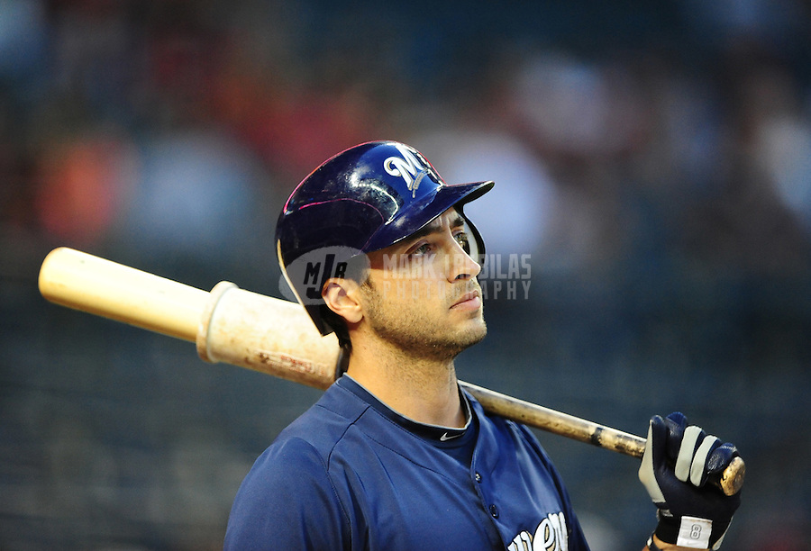 Apr. 3, 2012; Phoenix, AZ, USA; Milwaukee Brewers outfielder Ryan Braun in the on deck circle in the first inning against the Arizona Diamondbacks during a spring training game at Chase Field.  Mandatory Credit: Mark J. Rebilas-