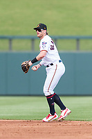 Salt River Rafters second baseman Travis Blankenhorn (5), of the Minnesota Twins organization, prepares to make a throw to first base during an Arizona Fall League game against the Surprise Saguaros at Salt River Fields at Talking Stick on October 23, 2018 in Scottsdale, Arizona. Salt River defeated Surprise 7-5 . (Zachary Lucy/Four Seam Images)