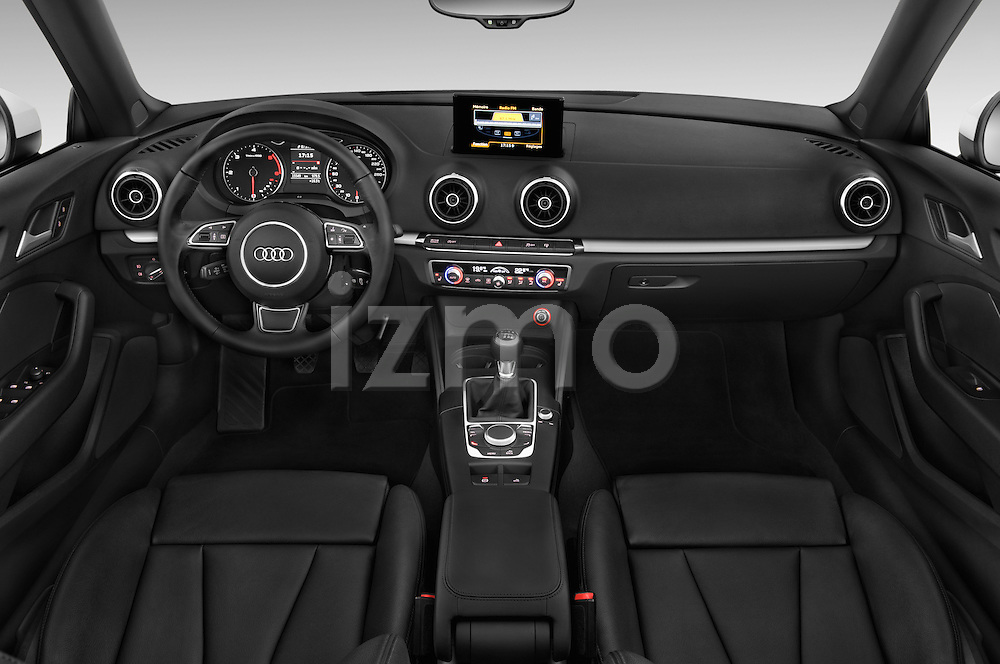 Stock photo of straight dashboard view of a 2015 Audi A3 Ambition 2 Door Convertible 2WD Dashboard