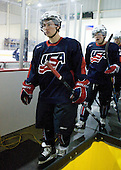 Tyler Johnson (US - 11), Kenny Ryan (US - 20) - Team USA defeated Team Russia 6-0 in their final game during the 2009 USA Hockey National Junior Evaluation Camp on Saturday, August 15, 2009, in the USA (NHL-sized) Rink in Lake Placid, New York.