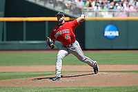 Chris Sadberry #42 of the Texas Tech Red Raiders pitches during Game 3 of the 2014 Men's College World Series between the Texas Tech Red Raiders and TCU Horned Frogs at TD Ameritrade Park on June 15, 2014 in Omaha, Nebraska. (Brace Hemmelgarn/Four Seam Images)