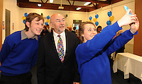 09-05-2014:  Minister for Education and Skills Ruairi Quinn T.D. performed the formal sod turning ceremony to mark the beginning of the construction phase for a new school for  Presentation Secondary School, Milltown, Co. Kerry on Friday. He is pictured here participating in a 'selfie' photo with students  Ronan O'Shea and Sarah Osterloh from  Presentation Secondary School. Picture: Eamonn Keogh (MacMonagle, Killarney)