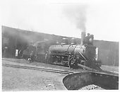 3/4 view of K-27 #450 at roundhouse in Gunnison.<br /> D&amp;RGW  Gunnison, CO