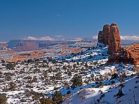 A winter snow blankets the red rock country of southern Utah