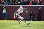 Wisconsin Badgers wide receiver Danny Davis (6) carries the ball during an NCAA College Big Ten Conference football game against the Minnesota Golden Gophers Saturday, November 25, 2017, in Minneapolis, Minnesota. The Badgers won 31-0. (Photo by David Stluka)