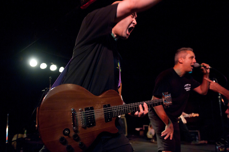 UNITED STATES - AUGUST 20: Guitarist Kenny Inouye and singer Steve Polcari of the DC hardcore punk band Marginal Man perform during the band's reunion show at the Black Cat in Washington on Saturday, Aug. 20, 2011. Kenny Inouye is the son of Sen. Daniel Inouye, D-Hawaii,. (Photo By Bill Clark/Roll Call)