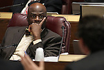 Nevada Sen. Kelvin Atkinson, D-Las Vegas, works in committee at the Legislative Building in Carson City, Nev., on Thursday, March 19, 2015. <br /> Photo by Cathleen Allison