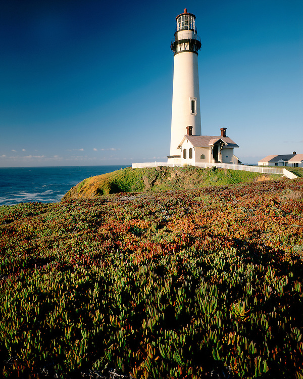 Sunrise light on Pigeon Point Lighthouse on Highway 1, CA