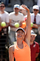 La tennista russa Maria Sharapova saluta dopo aver vinto un match nel corso degli Internazionali d'Italia di tennis a Roma, 15 maggio 2017.<br /> US tennis player Maria Sharapova greets after winning a match during the italian Masters tennis in Rome, May 15,2017.<br /> UPDATE IMAGES PRESS/Isabella Bonotto