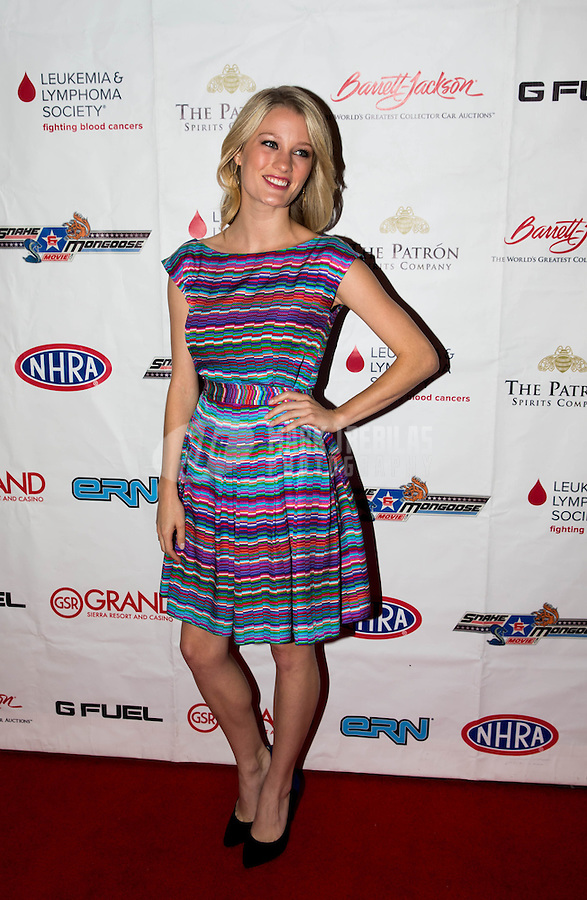 Aug. 29, 2013; Avon, IN, USA: NHRA Movie actress Ashley Hinshaw on the red carpet prior to the premiere of Snake & Mongoo$e at the Regal Shiloh Crossing Stadium 18. Mandatory Credit: Mark J. Rebilas-