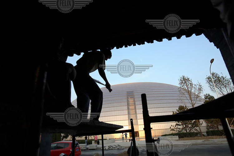 A view of Beijing's controversial 300 million USD National Grand Theatre and opera house, also known as 'The Egg'..