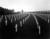 Aisne-Marne American Cemetery, Belleau, France.  View of Block B, showing marble crosses.  The crosses follow the conformity of the hillside at Aisne-Marne and produce a pleasing effect.  1928.  (American Battle Monuments Commission)<br />