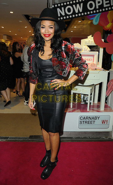 Sarah Jane Crawford<br /> The Benefit Cosmetics global flagship store launch party, Benefit, Carnaby St., London, England.<br /> September 11th, 2013<br /> full length red velvet bolero jacket dress leather hat ankle boots hand on hip black<br /> CAP/CAN<br /> &copy;Can Nguyen/Capital Pictures