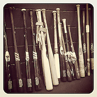 SAN FRANCISCO, CA - OCTOBER 5: Instagram of bats belonging to the Washington Nationals sit in the indoor batting cage during their workout day before Game 3 of the NLDS against the San Francisco Giants at AT&T Park on October 5, 2014 in San Francisco, California. Photo by Brad Mangin