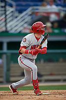 Auburn Doubledays Jake Randa (16) bats during a NY-Penn League game against the Batavia Muckdogs on September 1, 2019 at Dwyer Stadium in Batavia, New York.  Auburn defeated Batavia 3-1.  (Mike Janes/Four Seam Images)