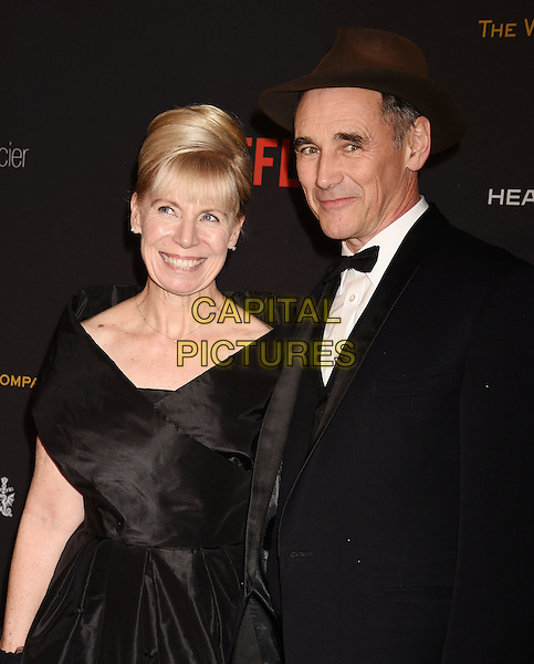 BEVERLY HILLS, CA - JANUARY 10: Composer Claire van Kampen (L) and actor Mark Rylance attend The Weinstein Company and Netflix Golden Globe Party, presented with DeLeon Tequila, Laura Mercier, Lindt Chocolate, Marie Claire and Hearts On Fire at The Beverly Hilton Hotel on January 10, 2016 in Beverly Hills, California.<br /> CAP/ROT/TM<br /> &copy;TM/ROT/Capital Pictures